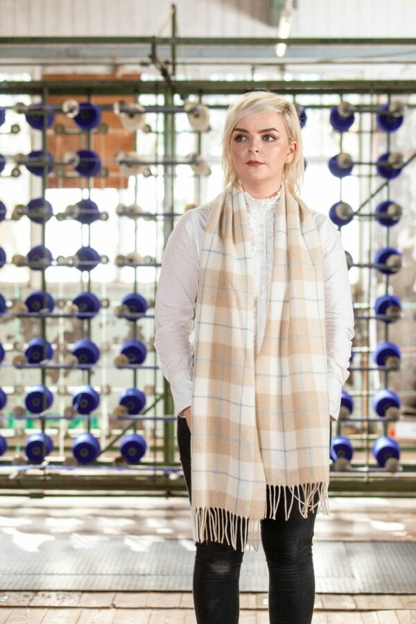 Camel, White & Blue Lambswool Scarf