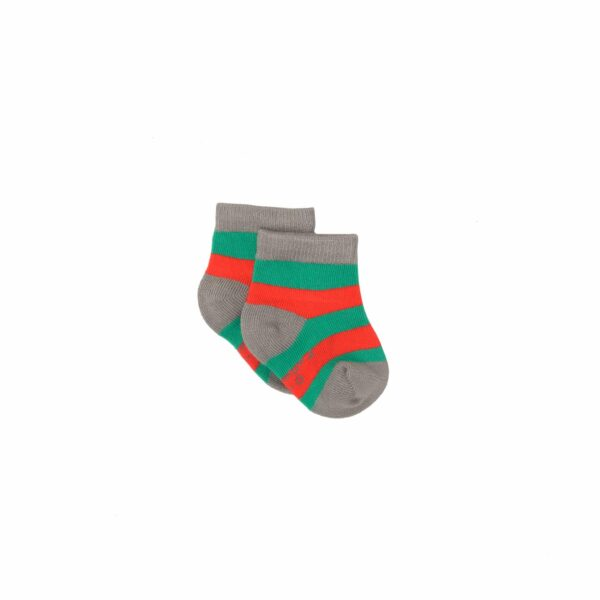 Bamboo Green & Red Baby Sock 0-1 Year