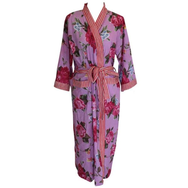 LADIES D/GOWN LILAC ROSE FLORAL RED/WHITE TRIM