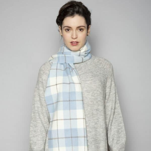 Blue, Mink & White Lambswool Scarf