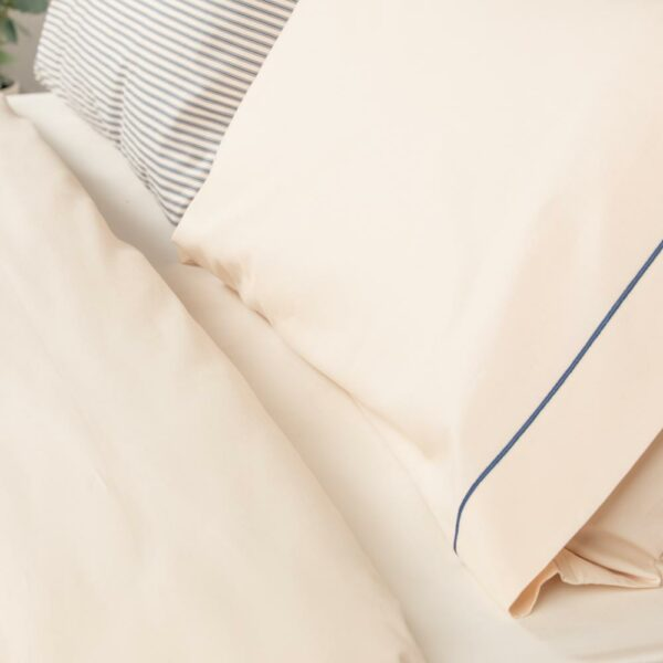 Solid Cream & Navy Rolenio Housewife Pillowcase