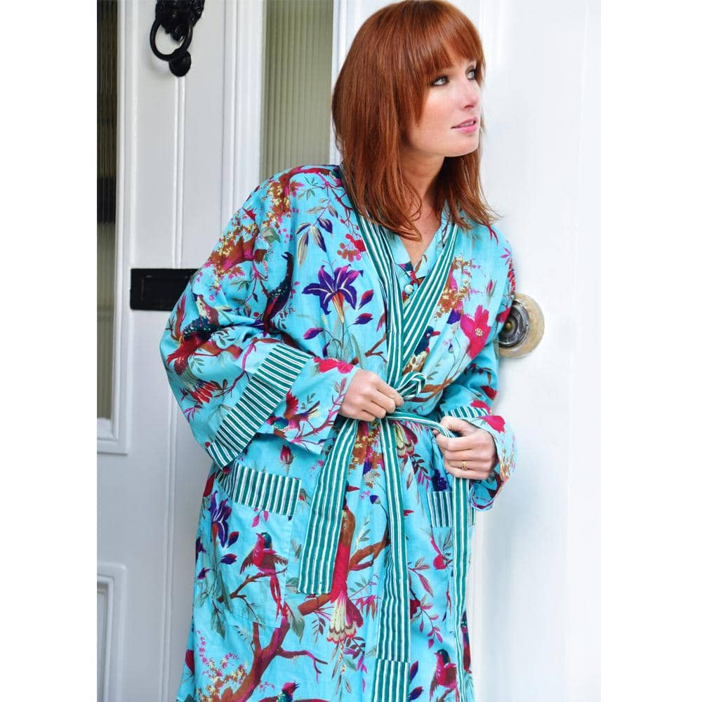 Turquoise Bird Ladies Dressing Gown – One Size