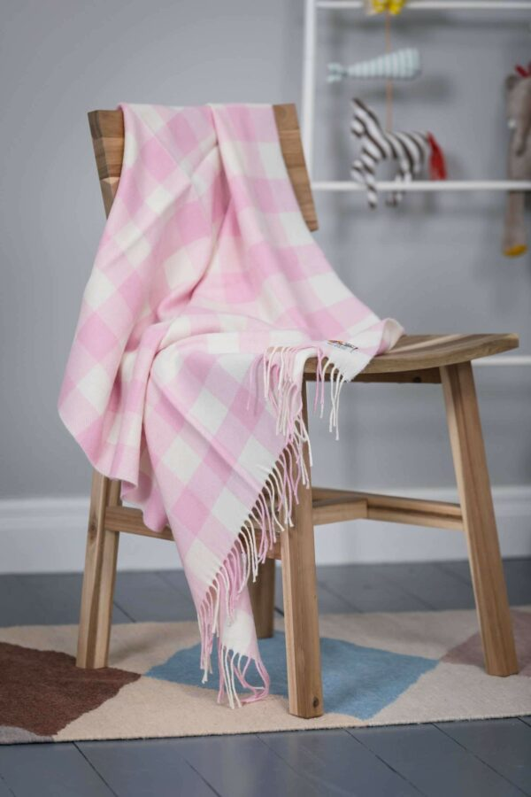 Foxford Pink Check Baby Blanket