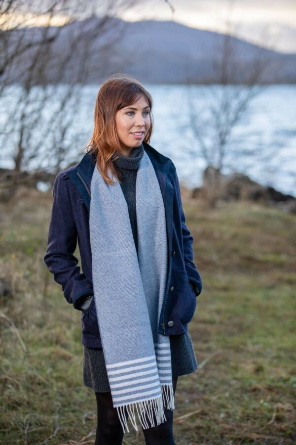 Jeans Mix and White Stripe Scarf