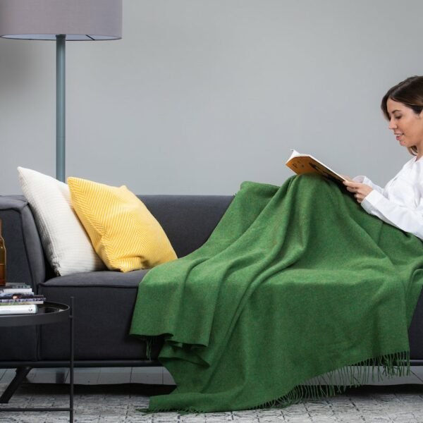 Leaf Green Solid Comfort Throw