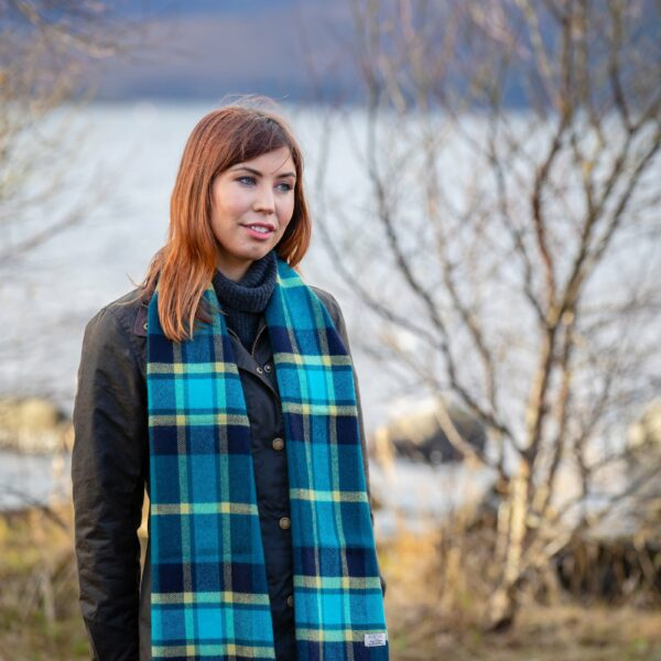 Turquoise Mirror Block Check Scarf