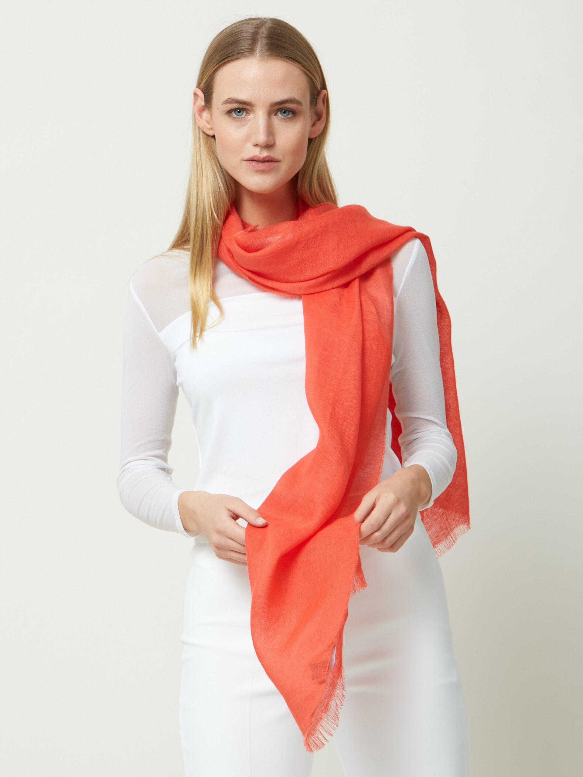 100% Linen Scarf CORAL RED
