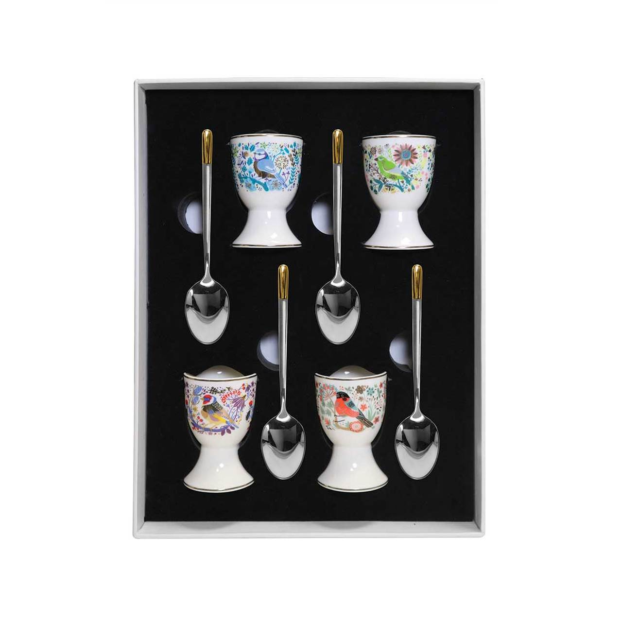 Birdy Set of Four Egg Cups and Spoons