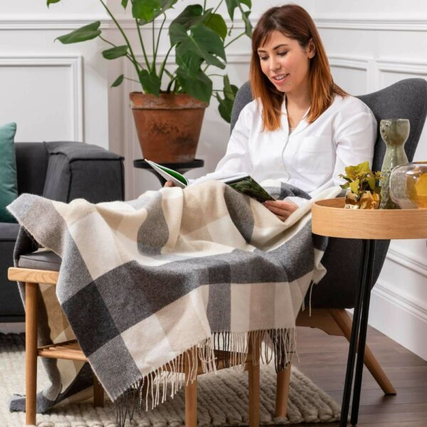 Classic Three Colour Check Lambswool Comfort Throw